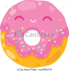 Cute Smiling Donut Cartoon Food Illustration