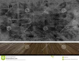 Abstract Wood Floor Texture And Printed Dark Concrete Wall Background