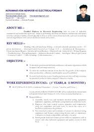 Sample Resume Of Electrician Supervisor As Electrical Foreman 1 For