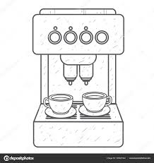 Coffee Machine Household Appliances Outline Drawing Vector By Filkusto