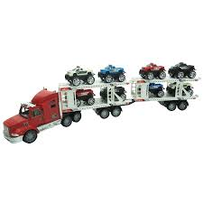 100 Semi Truck Toy Extreme Trailer Hauling 8 Monster Cars Friction Powered