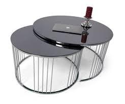 casa padrino luxus couchtisch set silber schwarz 2 runde wohnzimmertische mit glasplatte wohnzimmer möbel luxus kollektion