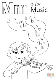 Click The Letter M Is For Music Coloring Pages