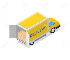 Yellow Delivery Truck Isometric 3D Icon. Modern Lorry Truck ...