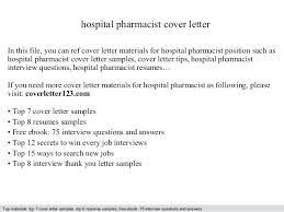 Cover Letter Community Pharmacist Hospital Best Ideas Of Examples