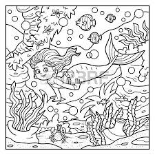 Coloring Book For Children Little Mermaid And Sea World Royalty Free Cliparts Vectors Stock Illustration Image 45628062
