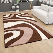 teppich wohnzimmer kurzflor modernes abstraktes wellenmuster 3d optik braun beige