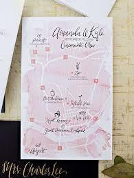 California Road Map Black And White Elegant Gold Foil Dot Blush Watercolor Wedding Invitation Suite