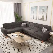 100 Sofa Modern Corner L Shape Grey Plush