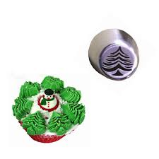 2Pcs Icing Piping Tips Christmas Tree Special Russian Leaf Nozzle Bakeware Cupcake Cake Decorating Pastry Baking
