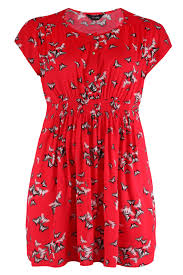 red tunic dress with butterfly print and gold buttons plus size 16