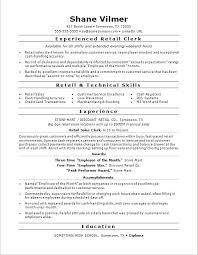 Resume Samples Retail Sample For A Sales Clerk Store