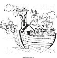 Lineart Giraffes Birds Rhinos Sheep And Monkeys On Noahs Ark