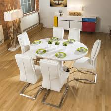 100 White Gloss Extending Dining Table And Chairs Set Round Oval 6 Large
