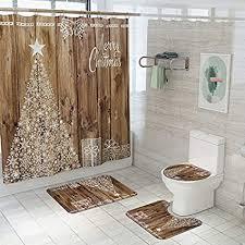 guyue badvorleger sets 4 teilig mit 12 haken badteppiche türvorleger antirutschmatte teppich mit wc deckelbezug duschvorhang geeignet für
