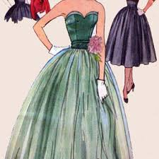 1950s Vintage Sewing Pattern Simplicity 3694 ROCKABILLY Prom Gown Strapless Bustier Evening Dress With Bolero