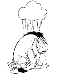Wet Eeyore In The Rain Coloring Page