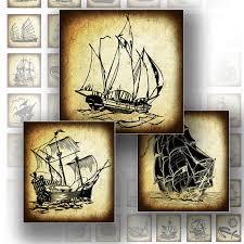1 x 1 inch digital download vintage ship boat transportation