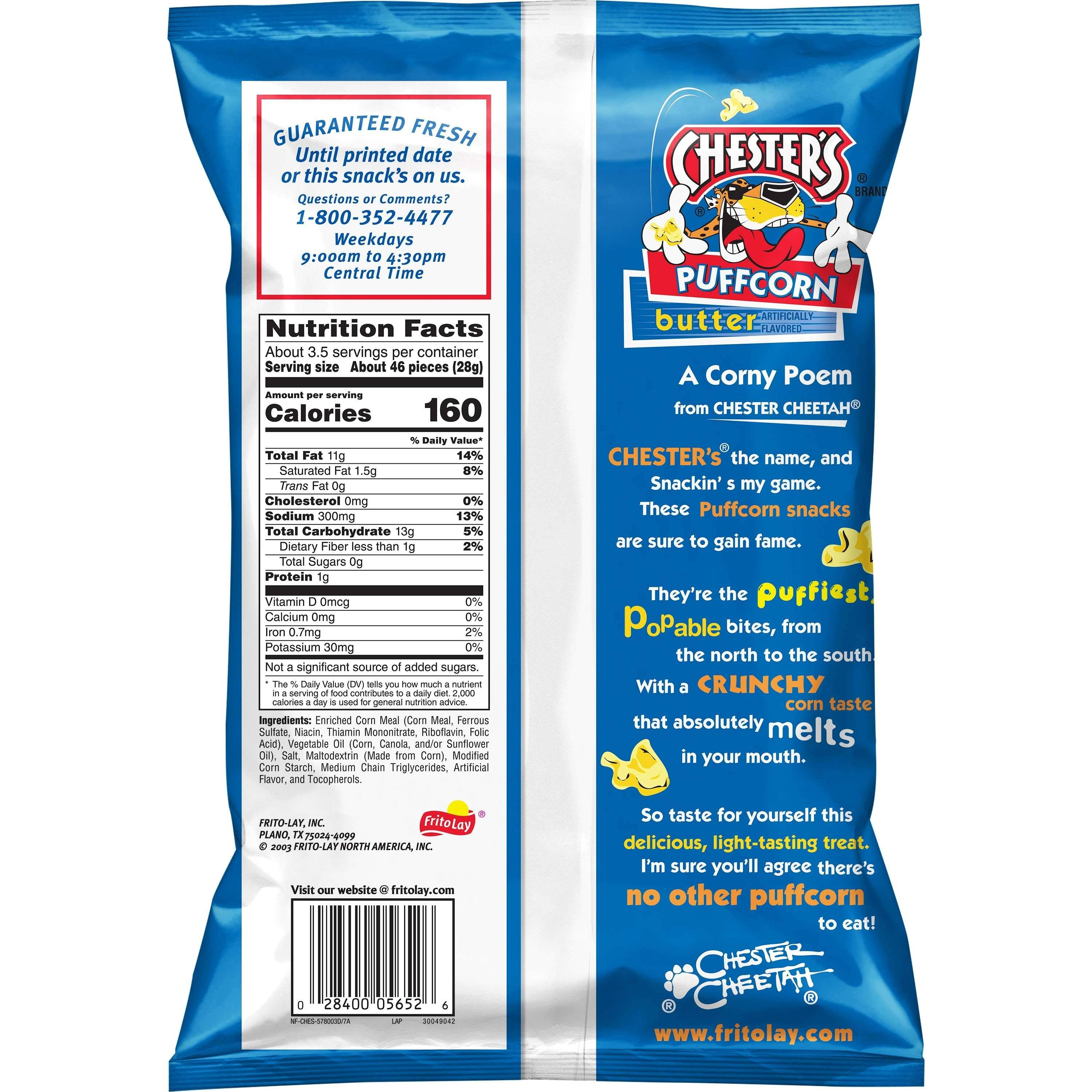 Chesters Puffcorn, Butter - 3.25 oz