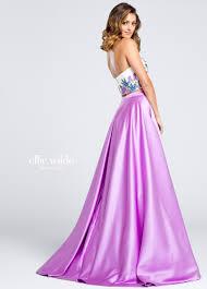 two piece purple lace satin prom dress ew117013