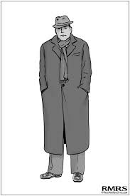 Large Overweight Man In Overcoat Illustration