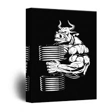 100 Pop Art Home Decor Wall26 Canvas Wall Bull Holding Dumbbell Fitness Body Building Giclee Print Gallery Wrap Modern Ready To Hang 12x18