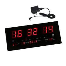 elektrische große led digital wanduhr mit kalender temperatur wohnzimmeruhr