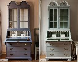 Pastel Lilac Colored Dresser With A Writing Desk Repainted In Ducks Egg Blue