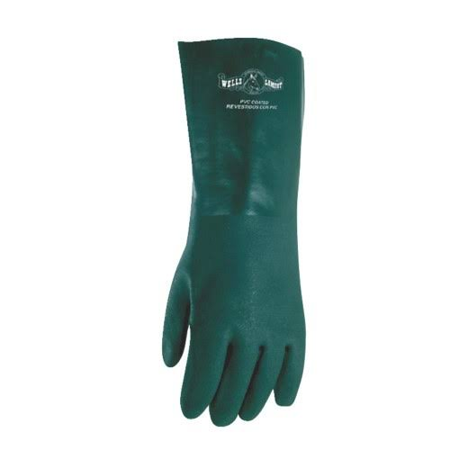 Wells Lamont Work Gloves with Gauntlet Cuff and Cotton Fleece Lining - Green
