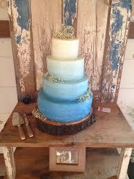Janellespastries Rustic Blue Ombre Wedding Cake