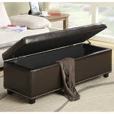 Navy Storage Bench by Simpli Home Hamilton Bonded Leather Storage Ottoman Coffee Brown