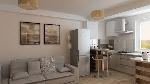 bilder 3d interieur küche und wohnzimmer braun weiß 4