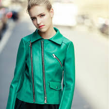 compare prices on green jacket with leather sleeves women online