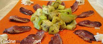 cuisiner le magret courgettes au magret de canard fumé