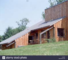 100 Modern Wooden Houses Wooden House With Sloping Roof On Hillside Stock Photo