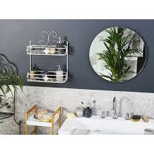 bad wandregal weiß metall antik optik mit 2 ablagen gäste wc bad badezimmer möbel accessoires zubehör