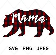 Mama Bear SVG Printable Clipart T Shirt Buffalo Plaid