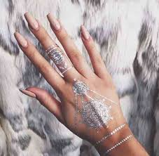 Nail Accessories Jewels Silver Tattoo Hand Jewelry Cute Polish Temporary Make Up