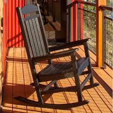 Presidential Recycled Plastic Wood Patio Rocking Chair By POLYWOOD - Black
