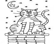 Printable Cat On A House At Night 2268 Coloring Pages