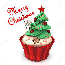 1300x1300 A Christmas Cupcake With Green Tree And The Text Merry Christmas