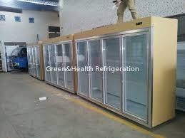 Gold Cool Storage Room Glass Display Fridge For Beverage And Milk