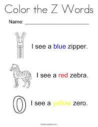 Color The Z Words Coloring Page