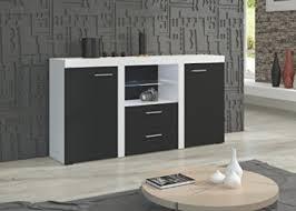 kommode möbel wohnzimmer modernes design matt weiß schwarz korpus weiß front schwarz