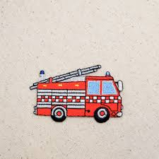 Iron On Embroidered Applique Patch Rescue Fire Engine Truck With ... Personalized Birthday Dump Truck Applique Shirt Or Bodysuit Girl Boy Valentines Day With Hearts Boyss Tow Machine Embroidery Design Blue Green Boy Christmas Mardi Gras Crimson Football Dumptruck Little 2 Dump Truck Applique Etsy Shamrock Saint Patricks Embroitique Gifts Filled For