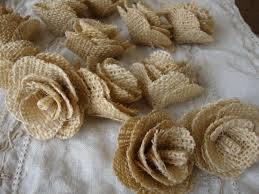 Rustic Wedding Burlap Flowers Fabric Roses Ivory Chic DIY Decor Craft Supplies Floral Rose Buds Decorations