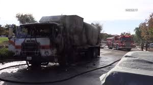 Trash Truck Catches Fire, Spills Flaming Oil In Black Mountain Ranch ...
