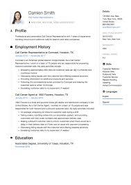 Call Center Representative Resume Sample