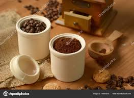 Coffee Powder Container Grinder Closeup Stock Photo