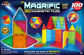 Valtech Magna Tiles Clear Colours 100 Pack by Magrific 100 Piece 3d Magnetic Tiles Toys